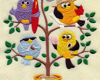 Beach Birds in a Tree (Tweet) Embroidered Quilt Block Square or Hand - Kitchen Towel