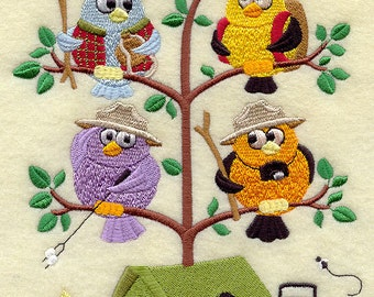 Camping Birds in a Tree (Tweet) Embroidered Quilt Block Square or White Cotton Towel