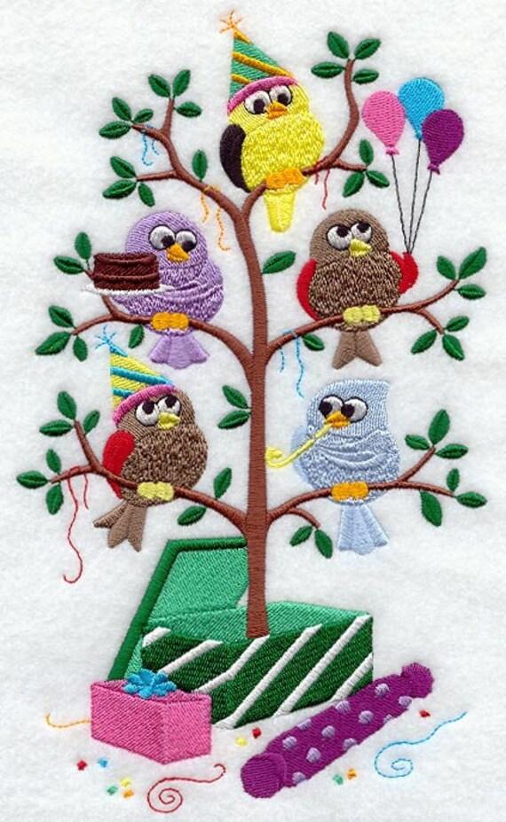 Happy Birthday Birds In A Tree Tweet Embroidered Quilt Block
