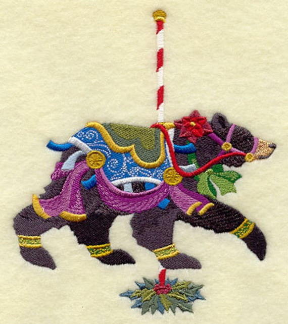 Christmas Carousel Black Bear Embroidered on WHITE Cotton Towel or Quilt Block Square