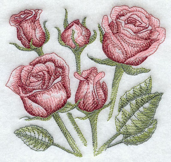 Rose Embroidered Towels: Items Similar To Sketched Roses Embroidered Cotton Kitchen