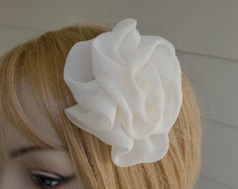 Bridal Fascinator Head Piece Wedding Veil Alternative Ivory or White Chiffon Flower