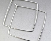 STERLING SILVER  SQUARE 2 inch  hoop wire earrings  art deco modern  minimal contemporary large nickel free No.00E106