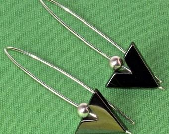 HEMATITE EARRINGS . Sterling Threader Earring. Long  Dangle.  Art Deco Earrings. Open Hoop . Contemporary Nickel Free -NO.00E70