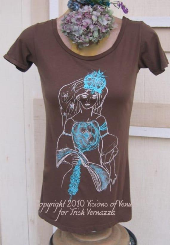 T-shirt Cocoa Brown Organic Eco Friendly Tshirt, Venus Dreams In Bloom