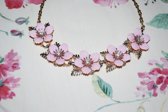 Antique 1940's Pale Pink Thermoset and Rhinestone Choker Necklace - Wedding and Bridal Fashion