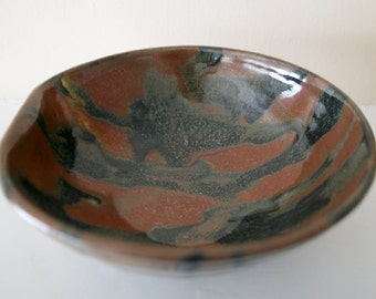 "Rustic Large Stoneware Bowl / Red Brown and Black / Japanese Style Glaze / Asymmetrical Form / ""DENT"""