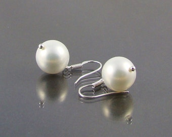 White Pearls 12mm Sterling Silver Earrings