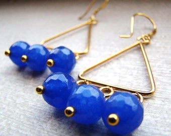 Sale Sapphire Gemstone Gold Chandeliers Earrings