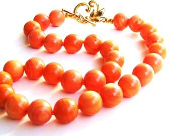 SALE Orange Coral Necklace - Beaded Gemstone Jewelry