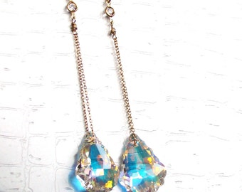 "AB Baroque Swarovski Gold Earrings 3"" long"