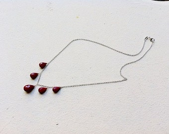 Indian Ruby Necklace, gold fill, rose gold fill or sterling silver
