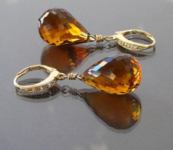 Luxury Spanish Madeira Citrine Gold Pave Earrings