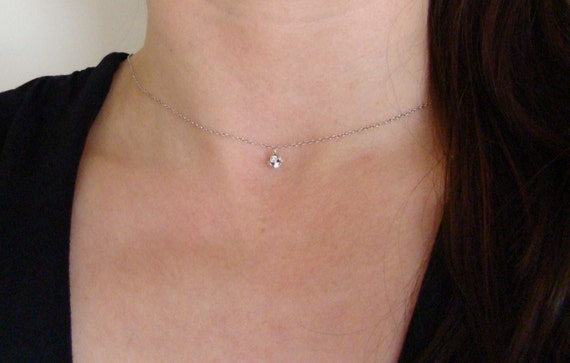 SALE Delicate Tiny Rhinestone Ball Sterling Silver Necklace