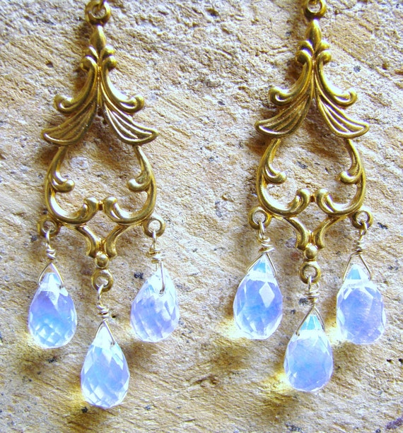 Opaline Moonstone Gold Chandelier Earrings. Available in silver
