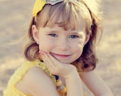 Grey and Yellow Satin Rosettes Lace Headband - Baby Headband - Toddler Headband -  Girls Headbands