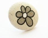 Flower Button Ring Ecru Cream Ivory Adjustable