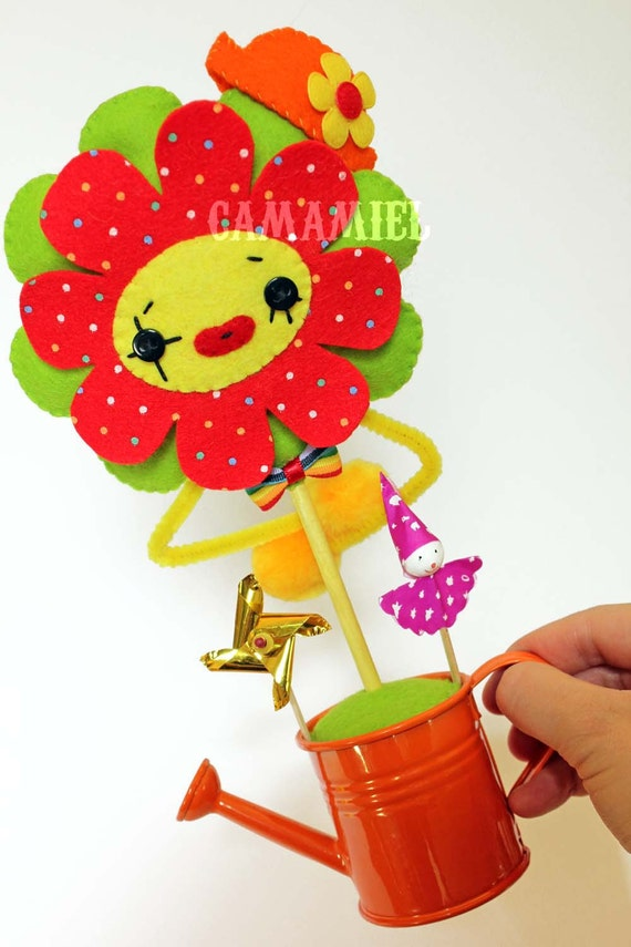 RESERVED Flower clown doll ornament (FlowerNuts number 3)