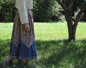 Blue and Sepia Colored Paisley Peasant Skirt S