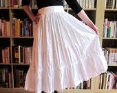 1970s White Cotton Boho Spring Skirt