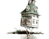 BIRDHOUSE. signed Print of an Original Ink and Watercolor Painting