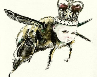 Queen Bee. signed Print of an Original Surreal Ink and Acrylic Painting.