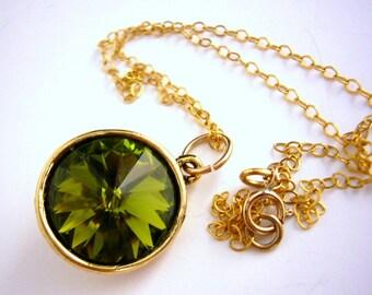 Green Bridesmaid Necklace, Olive Green Wedding Jewelry Gold, Rivoli Swarovski Necklace, Green Pendant Necklace, Lime Green Wedding, Moss