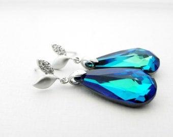 Peacock Wedding Earrings, Bermuda Blue Swarovski Crystal Earrings, Drop Wedding Earrings, Blue Bridal Jewelry, Crystal Earrings for Wedding