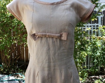 1960's Linen Dress Beige Tan Latte Coffee Vintage Retro 60s Short Sleeves Empire Waist and Bow with Lovely Details and Fit