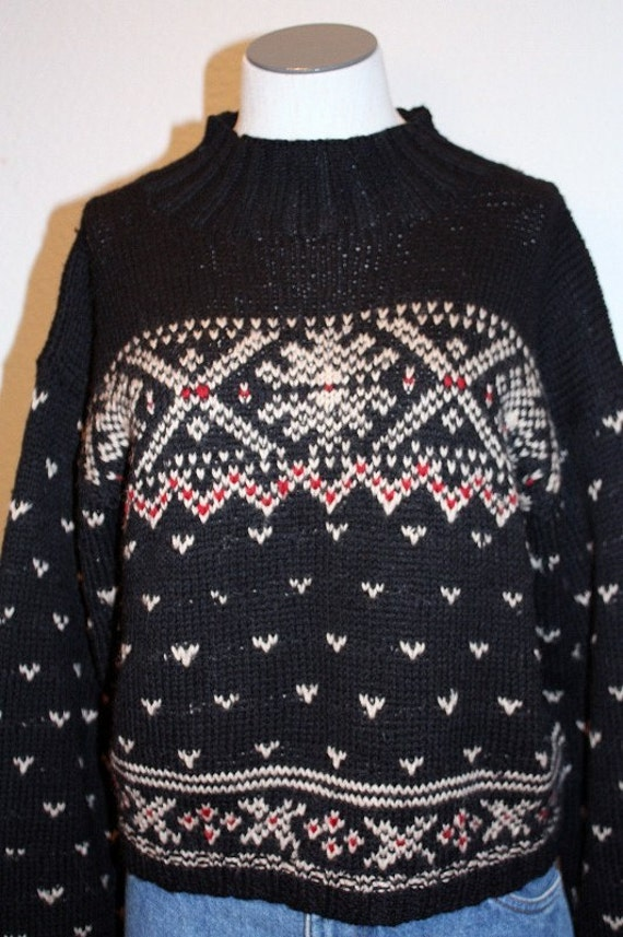 1990's Nordic Sweater Black Wool Red and White Snowflakes Large Old Style Ski Pattern Alpine Winter Outdoors Lodge Vintage Retro 90s Hipster