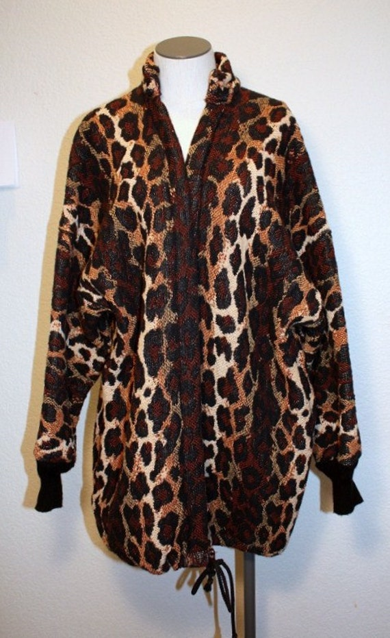 1980s Leopard Blanket Jacket Vintage Retro 80s  Handmade Exotic African Animal Print One Size Fits Most