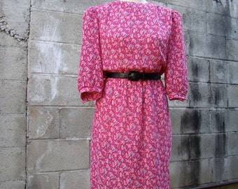 Vintage 80s / Hot Pink / Roses / Puff Sleeve / Secretary / Day Dress / MEDIUM