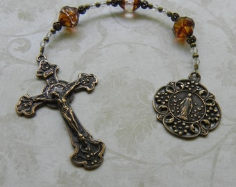 Catholic Rosary - Three Hail Marys Devotion Chaplet in Bronze and Pink Glass