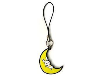 Cute Rabbit on the Moon Phone Charm, Korean mythology art, Chinese zodiac new year, Gift for her, Japanese bunny charm, Asian fairy tale