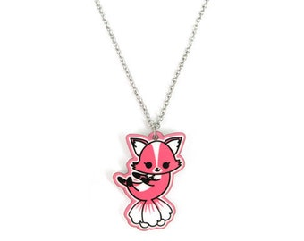 Korean Flower Fox Charm Necklace, National Rose of Sharon, Gumiho Kumiho Tailed Fox, Kawaii Kitsune, Historical Kdrama Gift for her, Kpop