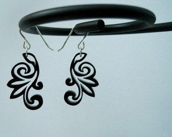 Black Korean Flower Earrings, Asian Floral Jewelry, Korean Wedding Gift, Traditional Modern Japanese Earrings, Minimalist Art Earrings