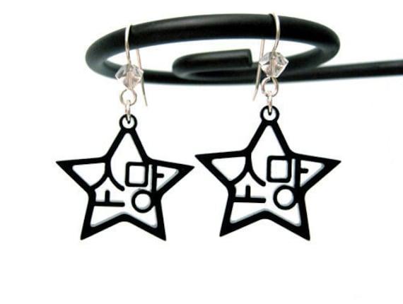 Korean Hangul Earrings Wish (Somang) Black