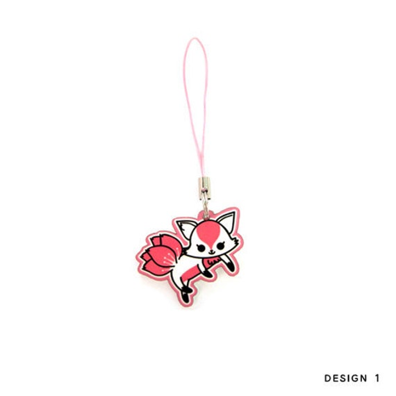 japanese phone charm kitsune cherry blossom fox