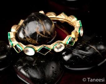 Green Kundan Bangle, Vintage Gold Plated Kundan, Emerald Glass, Royal Bangle Bracelet ,by TANEESI Jewelry