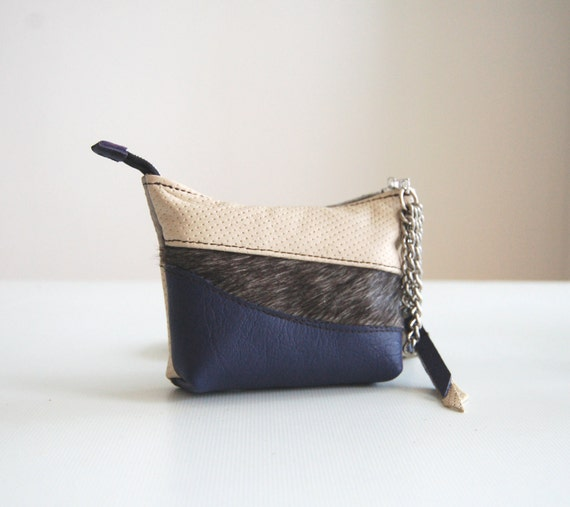 Grey purple and cream leather purse, with Liberty of london print cotton, handmade.