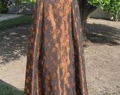 Autumn Leaves Woodland Fantasy Vintage Floor Length Taffeta Skirt Bronze Maple Leaf Maple Syrup Halloween