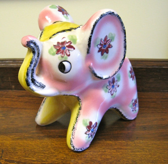 Elephant Nursery Planter Pink and Yellow Ceramic Pottery from Japan