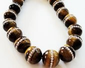 Tiger's Eye Beads - Tigers Eye Round Beads - Brown Beads - Clear Rhinestones Embedded Inlaid - 12mm - (2) Pcs - DIY Jewelry Making