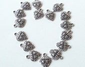 Silver Heart Shaped Charms/ Anitque Silver Heart Bracelet Earrings Charms (15) Pieces Valentine Day project