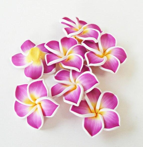 Purple Yellow Soft Clay Plumeria/Frangipani Flowers (5) Pieces/ Hawaii Flowers, Jewelry Craft Making