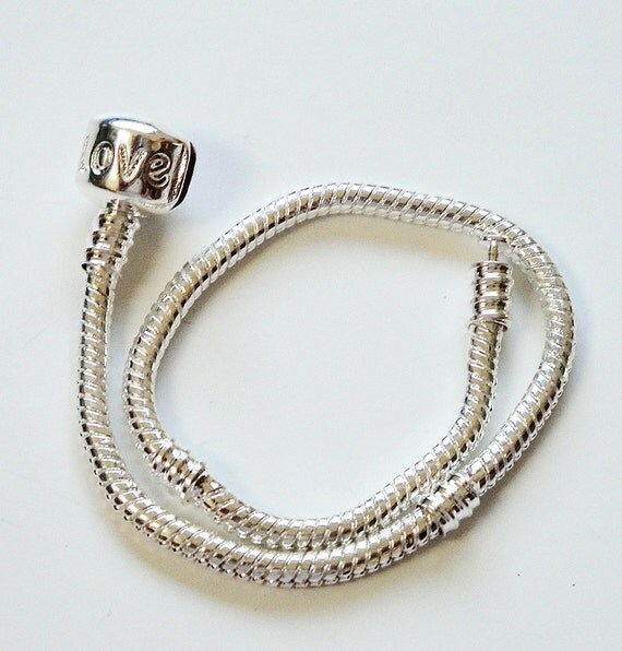 European Style Silver Snake Charm Chain Bracelet / Stamped With Love 8""