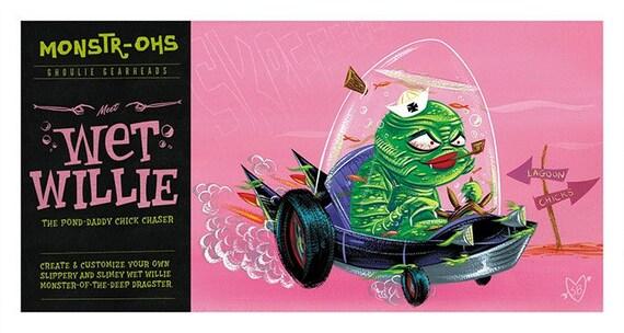 Wet Willie Hot Rod Sea Monster Art Print