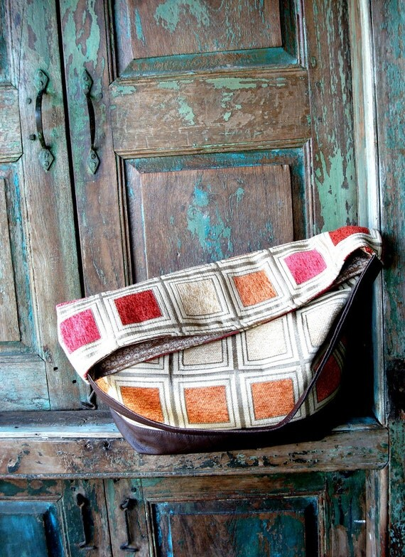 Handmade Brown  Leather and Ecru and Orange Hobo