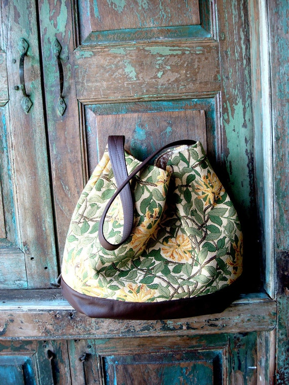 SALE!! Handmade Brown Leather and Vintage Inspired Floral Hobo