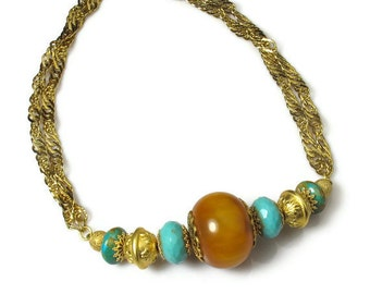 Turquoise and Amber, Chunky Bead Necklace, Amber Necklace, Boho Jewelry
